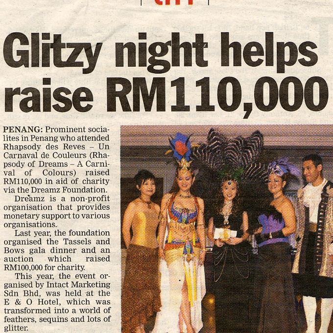 Glitzy night helps raise RM110,000 – The Sun (Wednesday 22 September 2004)
