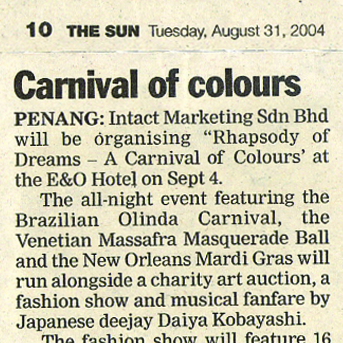 Carnival of colours – The Sun (Tuesday, 31 August 2004)